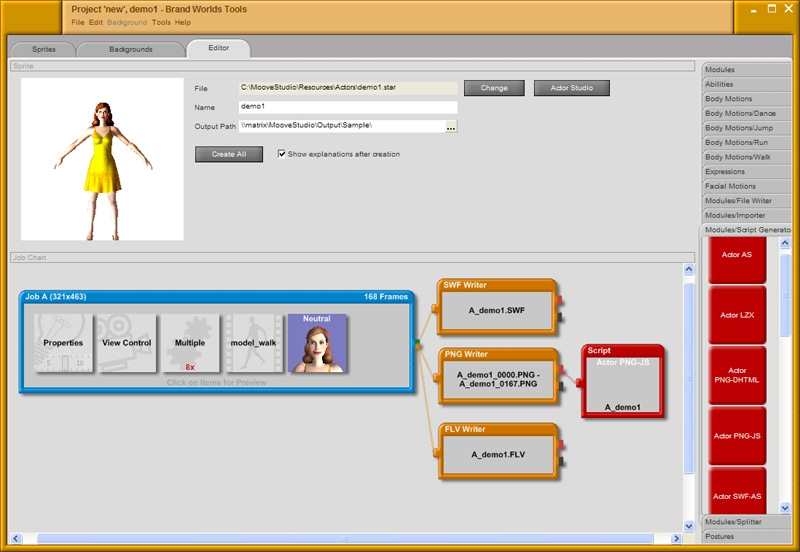 Screenshot vom Programm: Brand Worlds Tools
